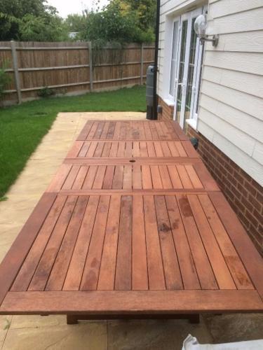 10 seater Extending wooden garden table