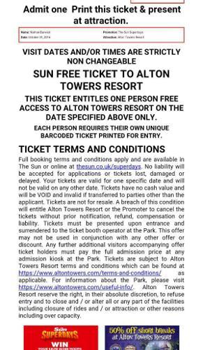 2 Alton Towers Tickets,Haloween, Scarefest