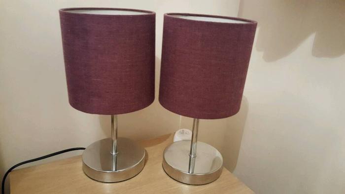 2 purple & chrome bedside lamps