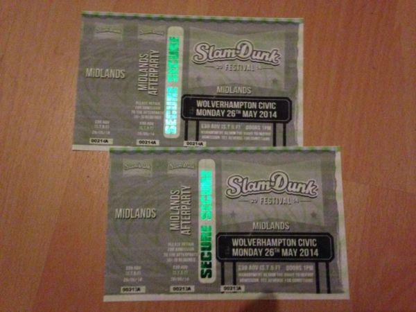 2 x Slam Dunk Festival 2014 (Wolverhampton) Tickets