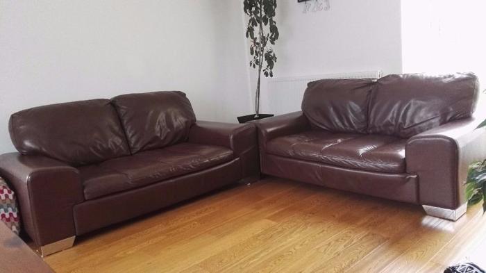 2x 2 seater Brown Leather Sofa