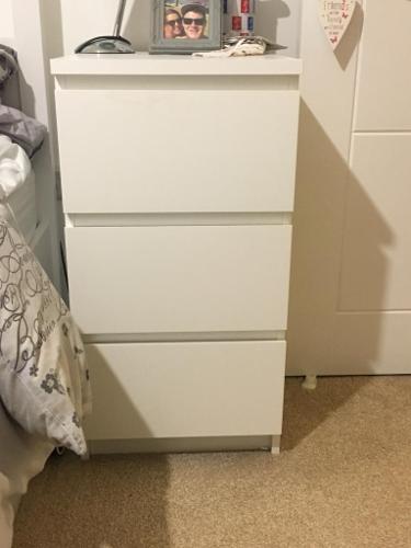3 drawer bed side unit