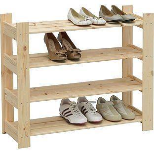 4 Shelf Shoe Storage Rack - Solid Pine. BRAND NEW