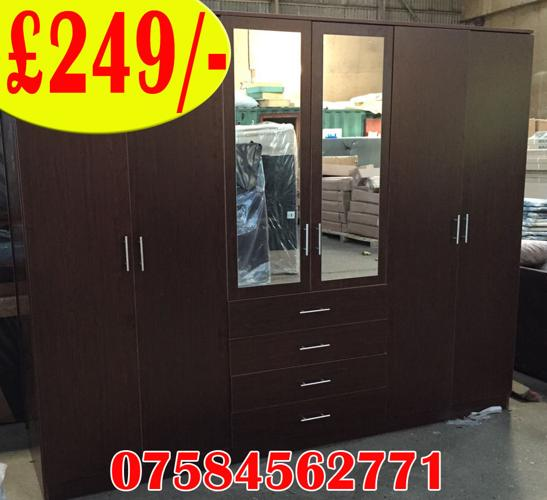 6 DOOR WARDROBE WITH MIRRORS AND DRAWERS ON SALE BRAND