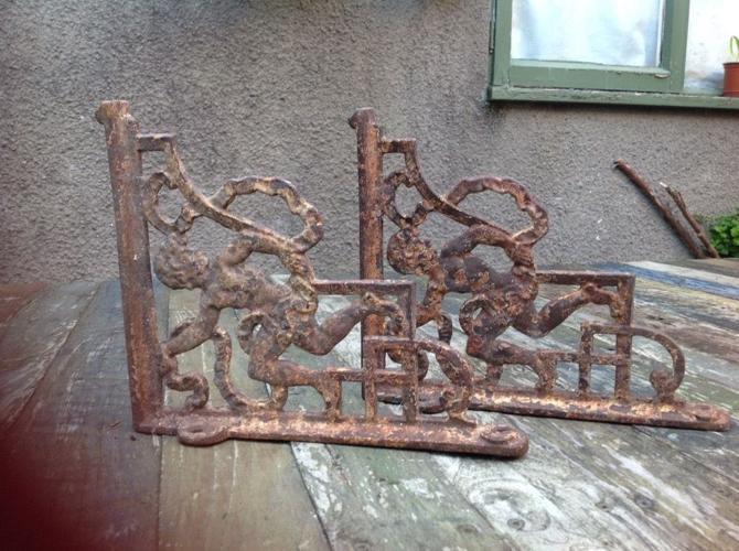 Antique Cast iron ornate shelve brackets