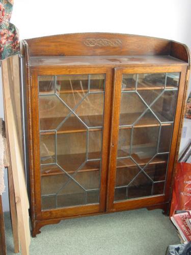 attractive antique leaded glass bookcase