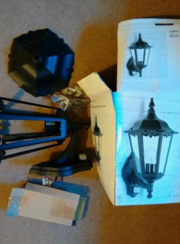 B&Q Waterville Matt black six sided wall lantern with