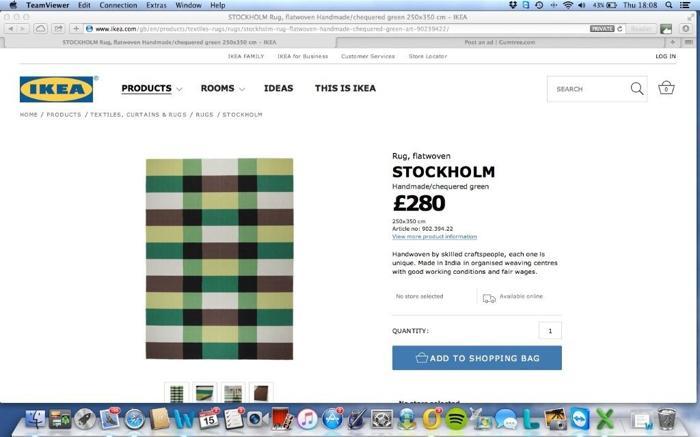 barely used XL ikea stockholm rug 250cm x 350cm