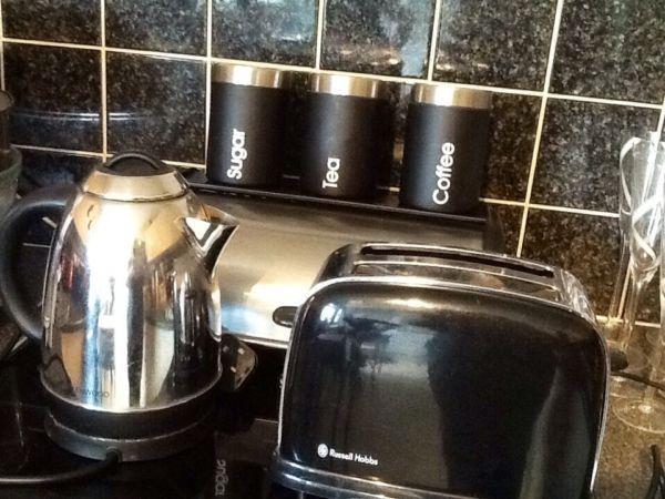 Black and chrome kitchen set