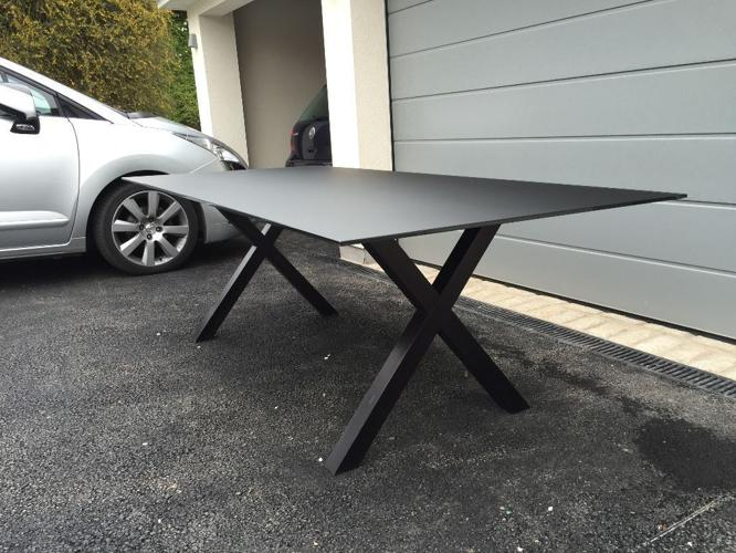 Black Glass Top Dining Table with Wooden 'X' Underframe