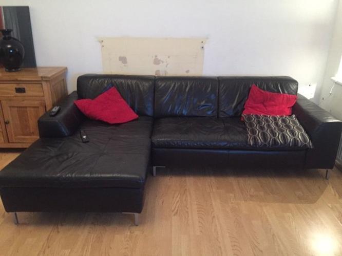 Black leather corner sofa for sale