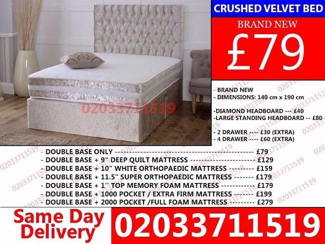***Brand New DOUBLE Crush Velvet Divan Bed Available