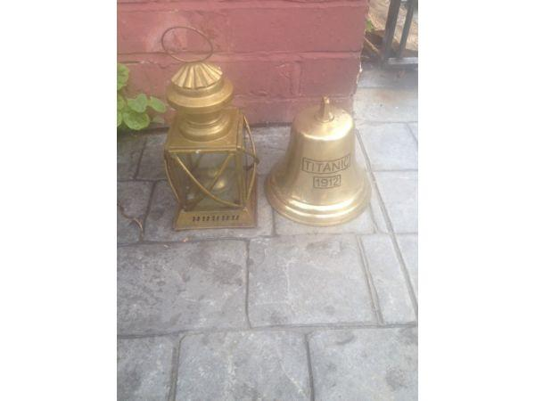 Brass bell with titanic engraving and old fashioned