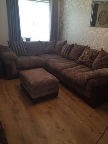 Brown corner sofa & storage footstool