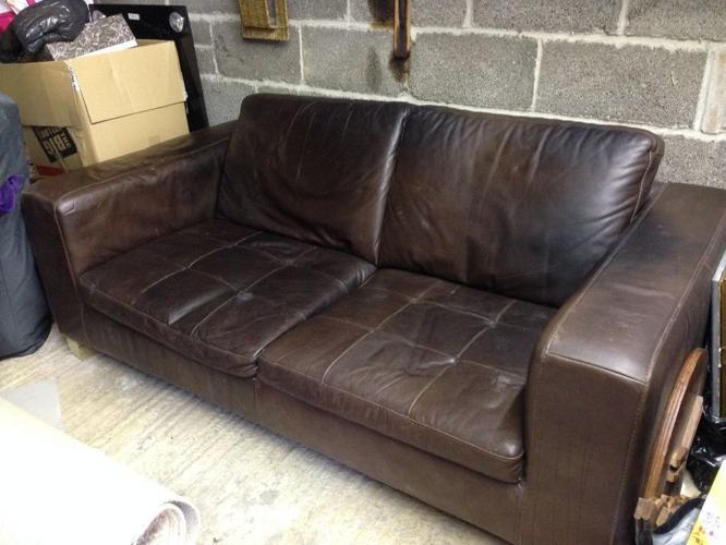 Brown Italian Leather 2 seater sofa