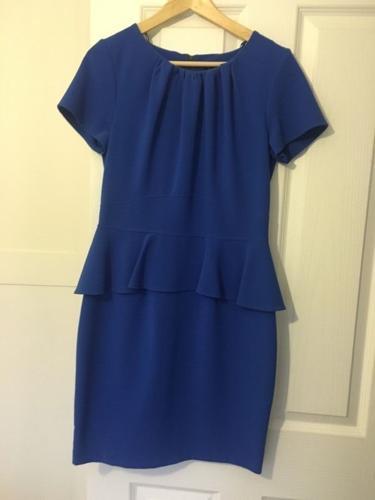 Closet electric blue peplum dress size 14