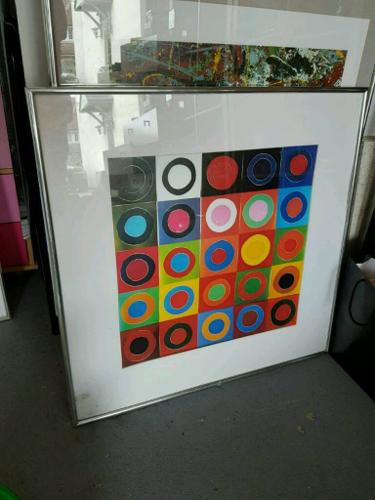 Colourful wall painting with frame