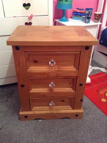 Corona Solid wood bed side drawers