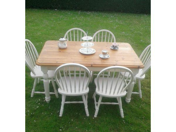 Country Style Solid Chunky Pine Table And Six Chairs