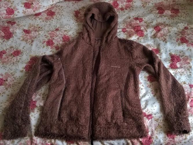Craghoppers women's brown fleecy furry hooded zip-up