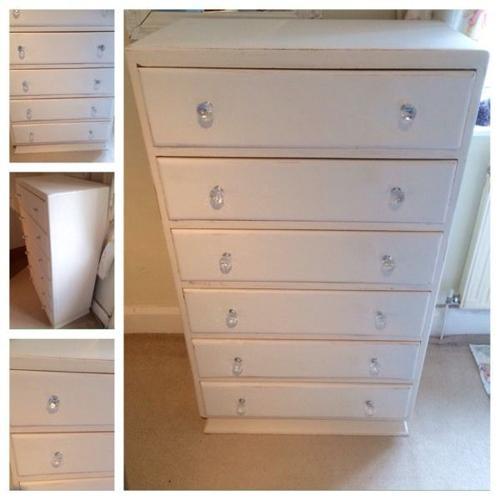 Cream shabby chic large chest of drawers