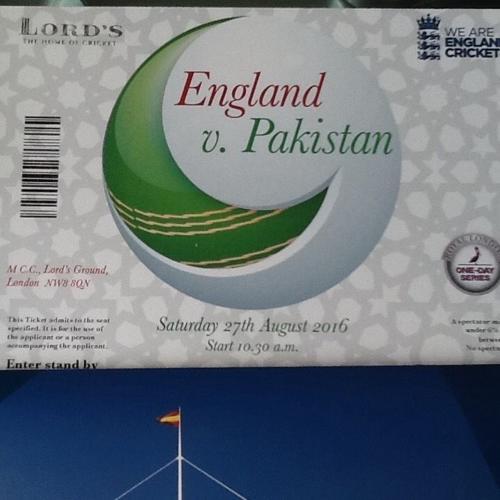 Cricket Tickets - ODI England Vs Pakistan at Lords 27th
