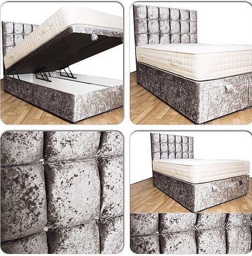 Crushed velvet ottoman storage bed