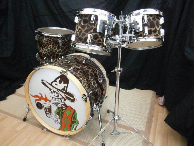 Custom Drum Kit. Richmo birch shells, giraffe