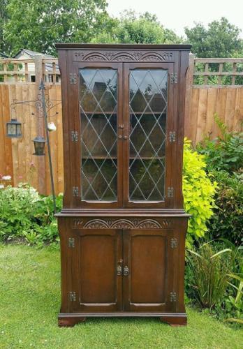Dark oak glazed corner unit
