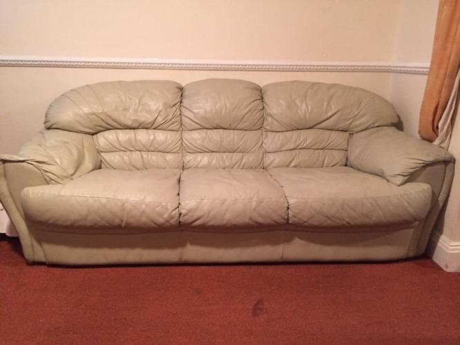 Full leather cream sofas x 3