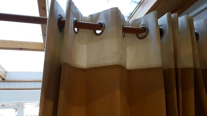 Full length beige/cream line curtains