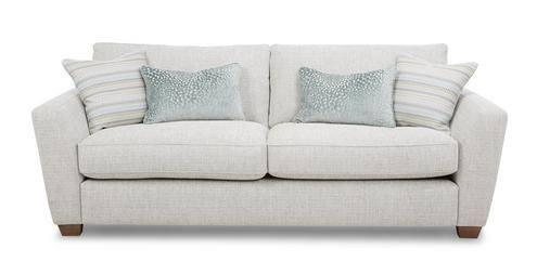 Grey DFS fabric sofa and footstool. 4 months old, good