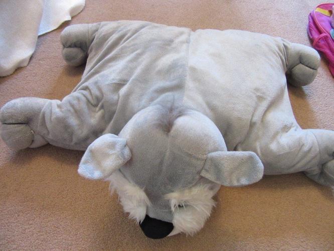 Grey dog cushion / pillow / soft toy
