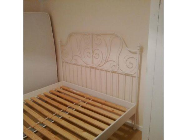 Ikea Leirvik White Metal King Size Bed Frame Incl Wooden Slats For