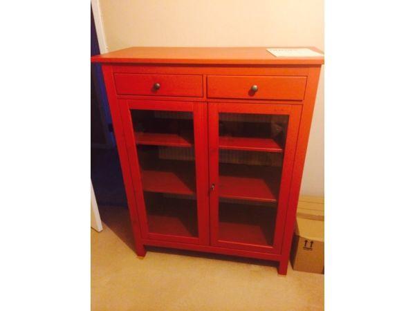 Ikea Red Hemnes Linen Cabinet/storage £70 For Quick