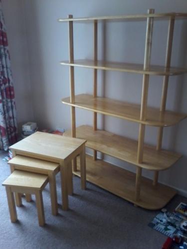 John Lewis bookshelf, nest of tables and magazine rack
