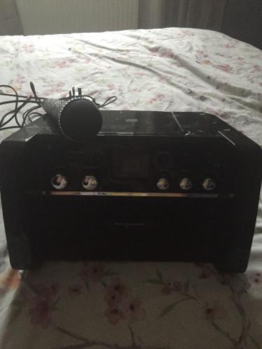 Karaoke machine with microphone