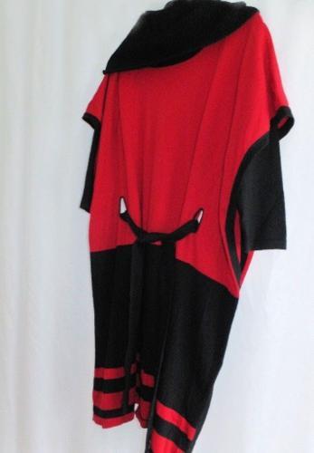 Karen Millen Black/Red Tie Waist Wool Blend Knit Dress