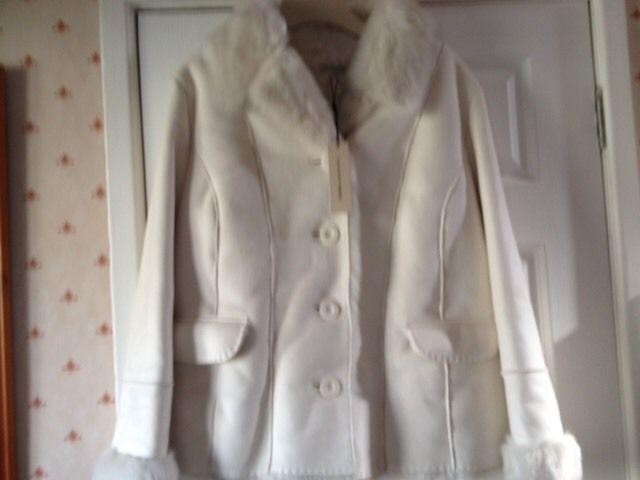 Ladies winter white jacket - machine washable-size