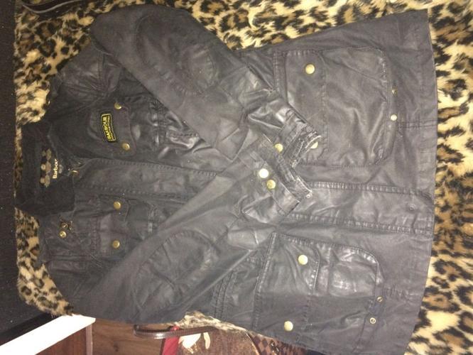 Ladies worn Barbour jacket black size 12