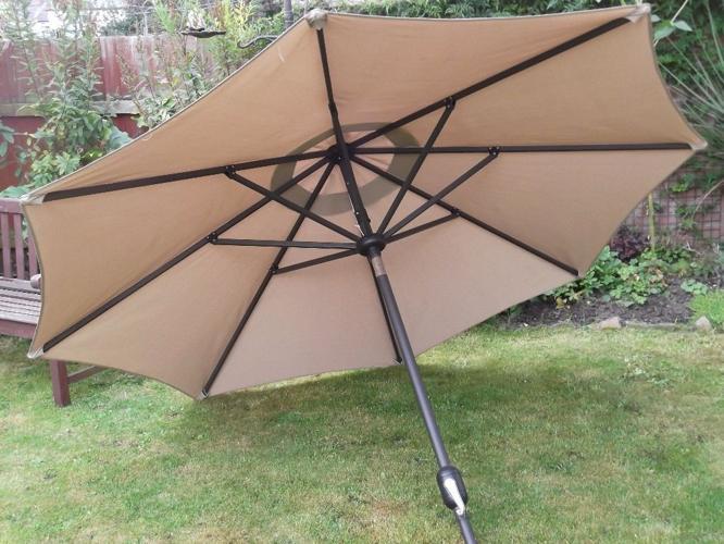 Large Beige Garden Parasol 'Crank & Turn' Mechanism.