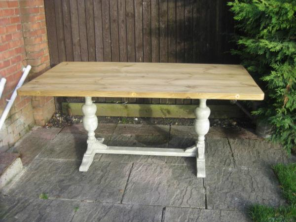 Large Pine & Oak Shabby Chic Painted Refectory Dining