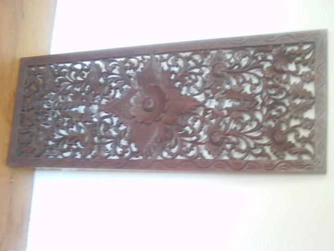 lotus flower hardwood carved panel from Thailand