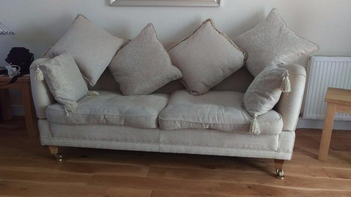 Lovely 3 Seat Sofa - 2 metres long - Cream Fabric -