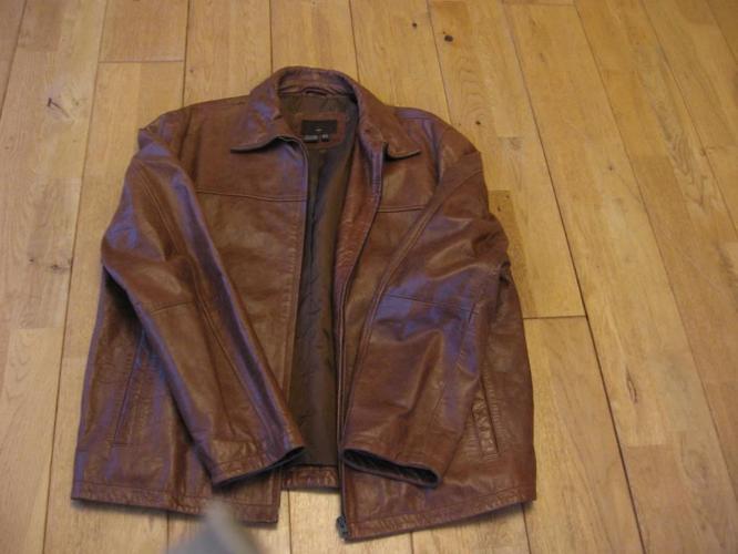 Man's brown leather jacket, size XL, Zara Brand, hardly