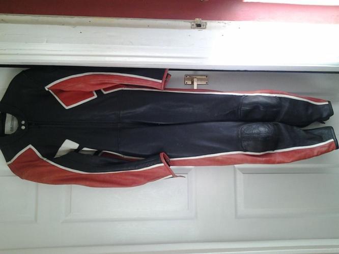 mans leather bike suit