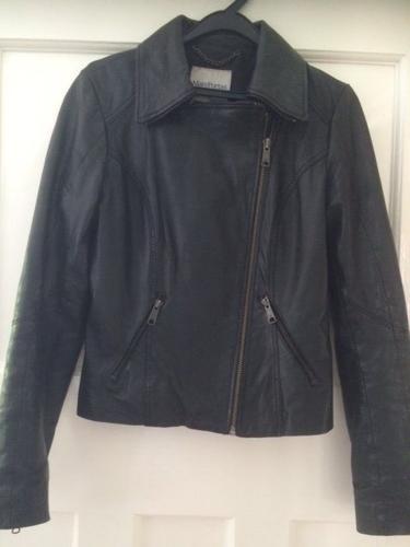 Mary Portas size 10 black leather jacket