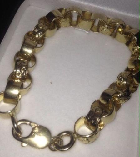 Mens 9ct Gold Belcher Bracelet