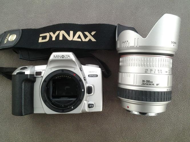 Minolta Dynax camera, Sigma 28-200mm lens, Cobra 440AF