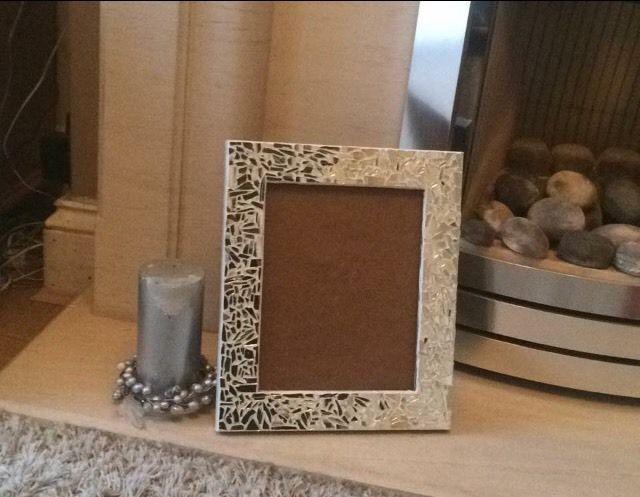 Mirrored mosaic photo frame